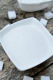 White sugar in ceramic bowl Stock Image
