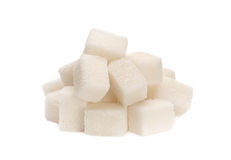 White sugar cube heap isolated Stock Photos