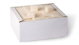 White sugar cubes in a box top view Stock Images