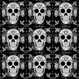 White Sugar Skull Seamless Background Royalty Free Stock Images