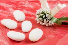 White sugared almonds Stock Images