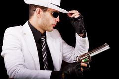 White suit gangster Royalty Free Stock Images