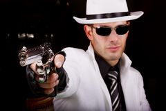 White suit gangster with a gun Royalty Free Stock Photography