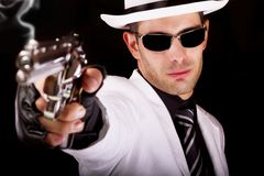 White suit gangster with a gun Stock Images