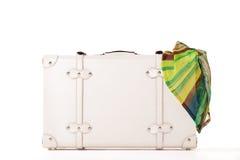 White suitcase on white bacground Stock Photo