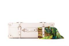 White suitcase on white bacground Stock Images