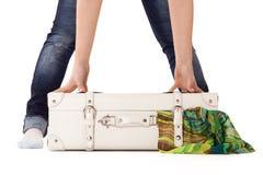 White suitcase on white bacground Royalty Free Stock Photos
