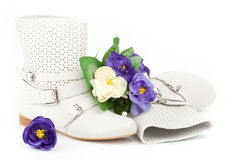 White summer boots with flowers Royalty Free Stock Image