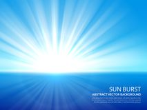 White sun burst in blue sky. Abstract sunlight bursting effect vector background Stock Photography