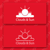 White sun and clouds sign on a red card. Vector logo set. White sun and clouds sign on a red card Stock Photo