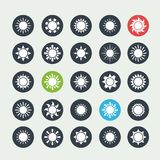 White sun icons set Royalty Free Stock Image