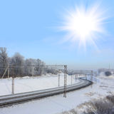 White sun over railway Stock Images