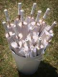 White Sun Parasols in A White Bucket. 15 White Sun Parasols displayed in a white painted bucket on a grass lawn Stock Photography