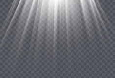 White sun rays and glow light effect on transparent background. Vector illustration Royalty Free Stock Images