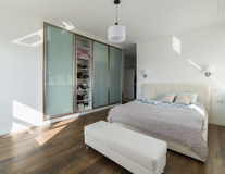 White sunny bedroom Royalty Free Stock Image