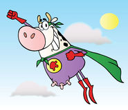 White super hero cow flying Royalty Free Stock Image
