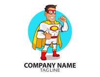 White Superhero Logo. Vector Illustration of Friendly Superhero Dressing in White Costume Royalty Free Stock Photo