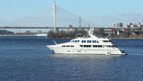 White superyacht is anchored. Superyacht is anchored, Gusts of wind, seascape stock footage