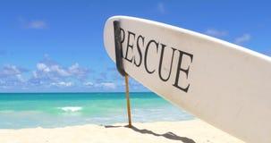 Rescue Surfboard on the Hawaii beach