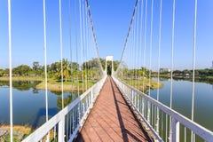 The white suspension bridge stock photo