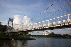 A white suspension bridge in the sky Royalty Free Stock Images