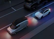 White SUV emergency braking to avoid car crash. Automatic Emergency Braking Emergency brake system concept. Night scene. 3D rendering image Stock Image