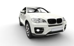 White SUV Front View Royalty Free Stock Image