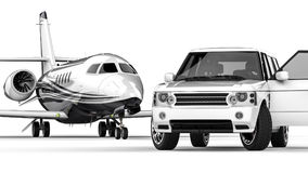 White SUV limousine with a private jet Stock Photos