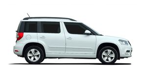 White SUV side view Royalty Free Stock Photos