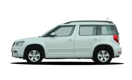 White SUV side view Stock Photos