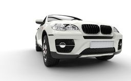 White SUV Undershoot Royalty Free Stock Photography