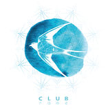 White Swallow in tattoo style on a background of blue watercolor. Royalty Free Stock Photos