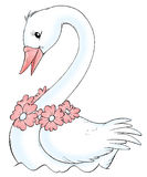 White swan. Isolated clip-art and children's illustration for yours design, postcard, album, cover, scrapbook, etc Royalty Free Stock Photo