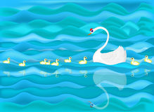A white swan with baby swan around her Royalty Free Stock Photos