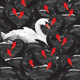 White swan in black family. A white swan among black swans swarm, difference in swans family. Image of differences. Vector illustration Stock Photos