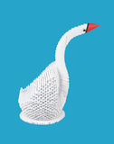 White swan on blue background. figure of bird out of paper Royalty Free Stock Photo