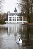 White swan with castle of Renswoude Stock Images
