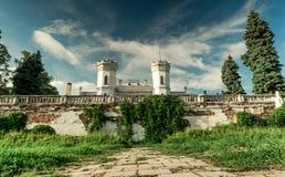 White Swan castle in Sharivka park, Kharkiv region Stock Photo