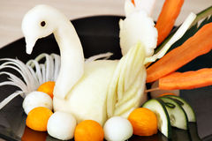 White swan decorated salad Royalty Free Stock Photo