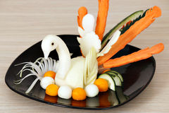 White swan decorated salad Royalty Free Stock Photography