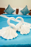 White swans shaped towel decoration Stock Photos