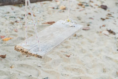 White swing on beach. White swing on a beach Stock Photography
