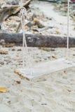 White swing on beach Royalty Free Stock Photos