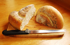 White Swirl Bread Loaf with Knife 2 Stock Image