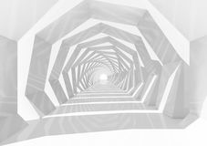 White swirl tunnel interior perspective, 3d. Abstract hypnotic cg background with white swirl tunnel interior perspective, 3d illustration Stock Images