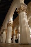 White Synagogue. Interior view of the Synagogue of Santa Maria the Blanca of Toledo, Spain royalty free stock photography