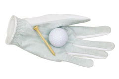 White synthetic microfiber Golf glove with a golf ball and bambo Stock Image