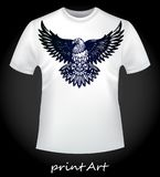 White T-shirt with a bird of prey eagle Stock Images