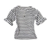 White t-shirt with black horizontal stripes Stock Photo