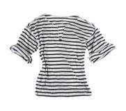 White t-shirt with black horizontal stripes stock photo